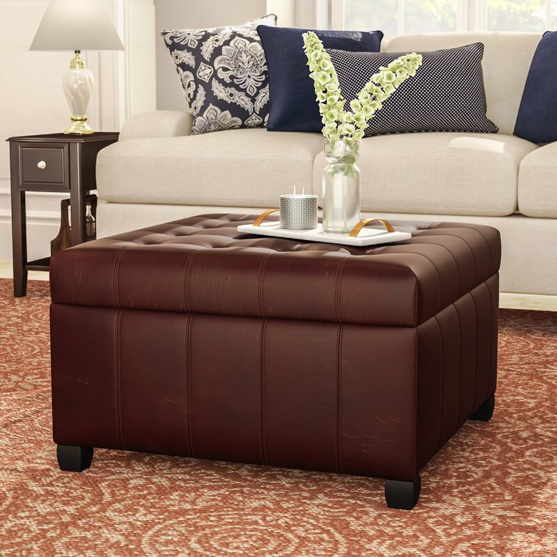 Amazing Francisville Leather Storage Ottoman