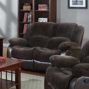 Aiden Motion Leather Reclining Loveseat by N..