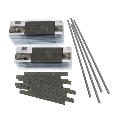 Aspect 4 x 12 Glass Peel & Stick Subway Tile Kit in Leather Matte