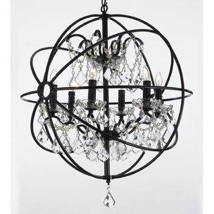 Large orb chandelier wayfair calderdale orb 6 light led crystal chandelier mozeypictures Gallery