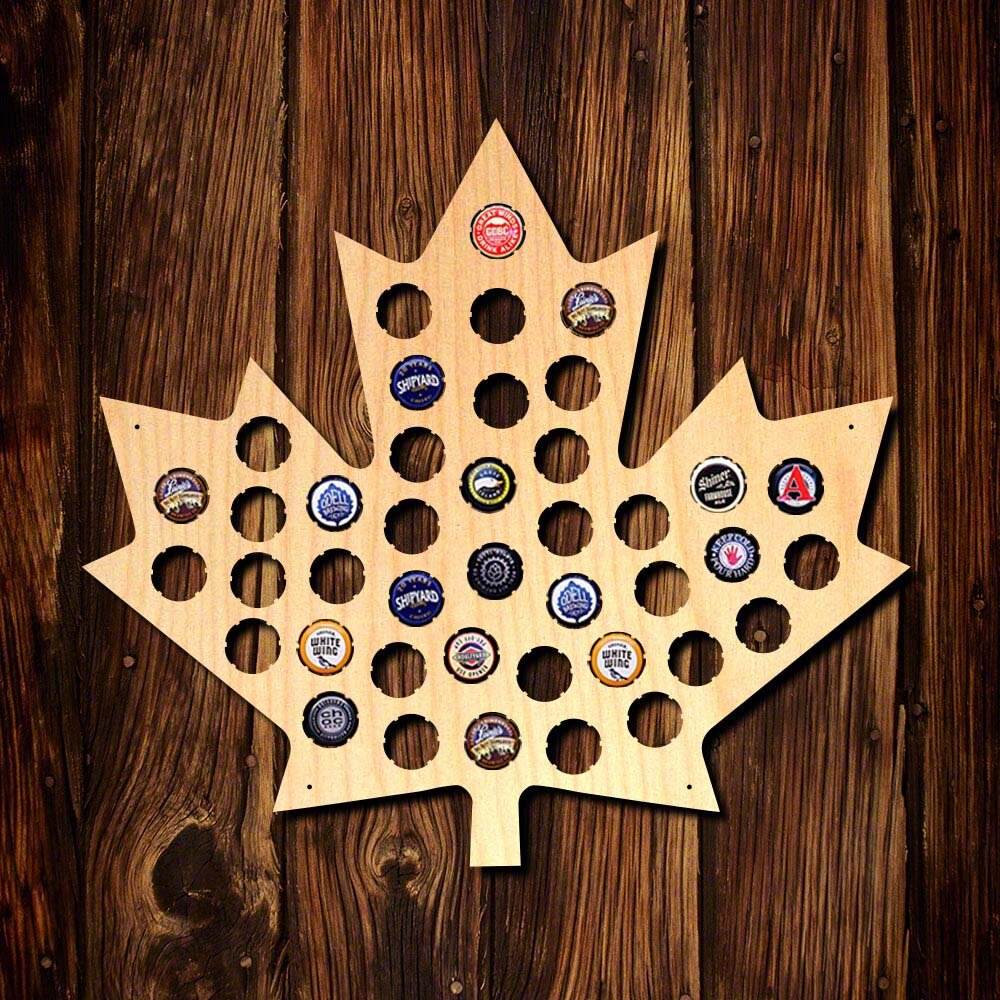 Home Wet Bar Maple Leaf Beer Cap Map Wall Décor | Wayfair.ca