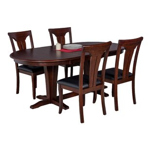 Doretha 5 Piece Solid Wood Dining Set with Curved Back Chair