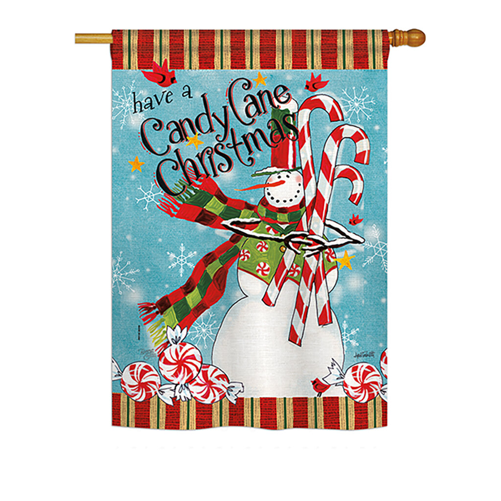 Breeze Decor Candy Cane Christmas Winter Vertical American 2 Sided Polyester 33 X 23 Ft House Flag
