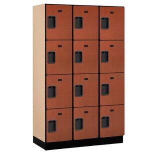 Salsbury Extra Wide Designer Wood Locker Four Tier 3 6 Feet High 18 Inches Deep Cherry