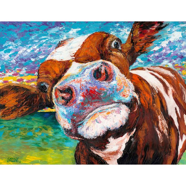 Marmont Hill Quot Curious Cow I Quot Painting Print On Wrapped