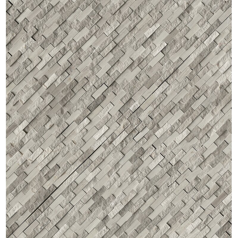 Split Face 0 4 X 1 2 Marble Mosaic Tile In Off White