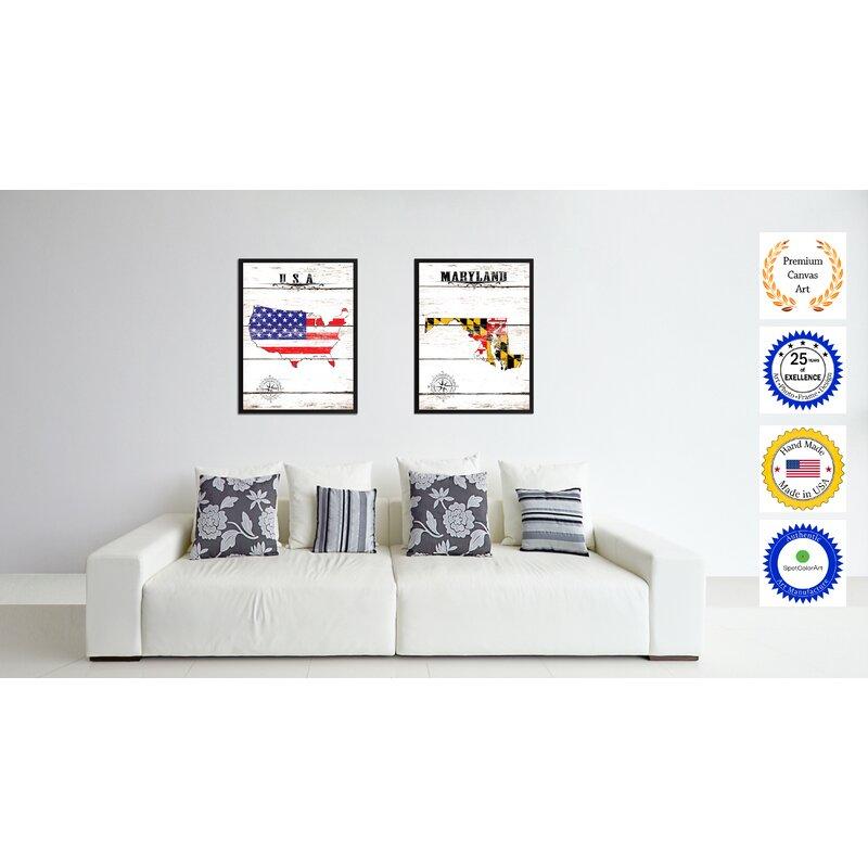 U0027Maryland State Vintage Flagu0027 Framed Graphic Art Print On Canvas. U0027