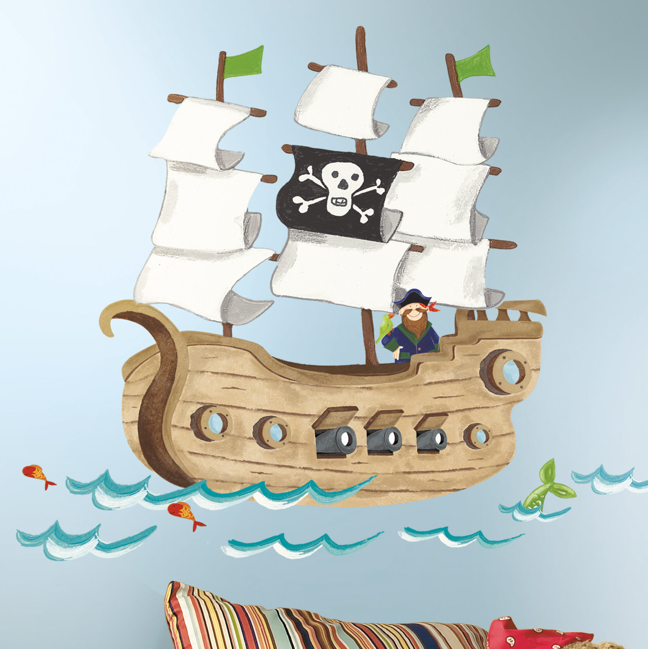 Room Mates Studio Designs Pirate Ship Giant Wall Decal U0026 Reviews | Wayfair