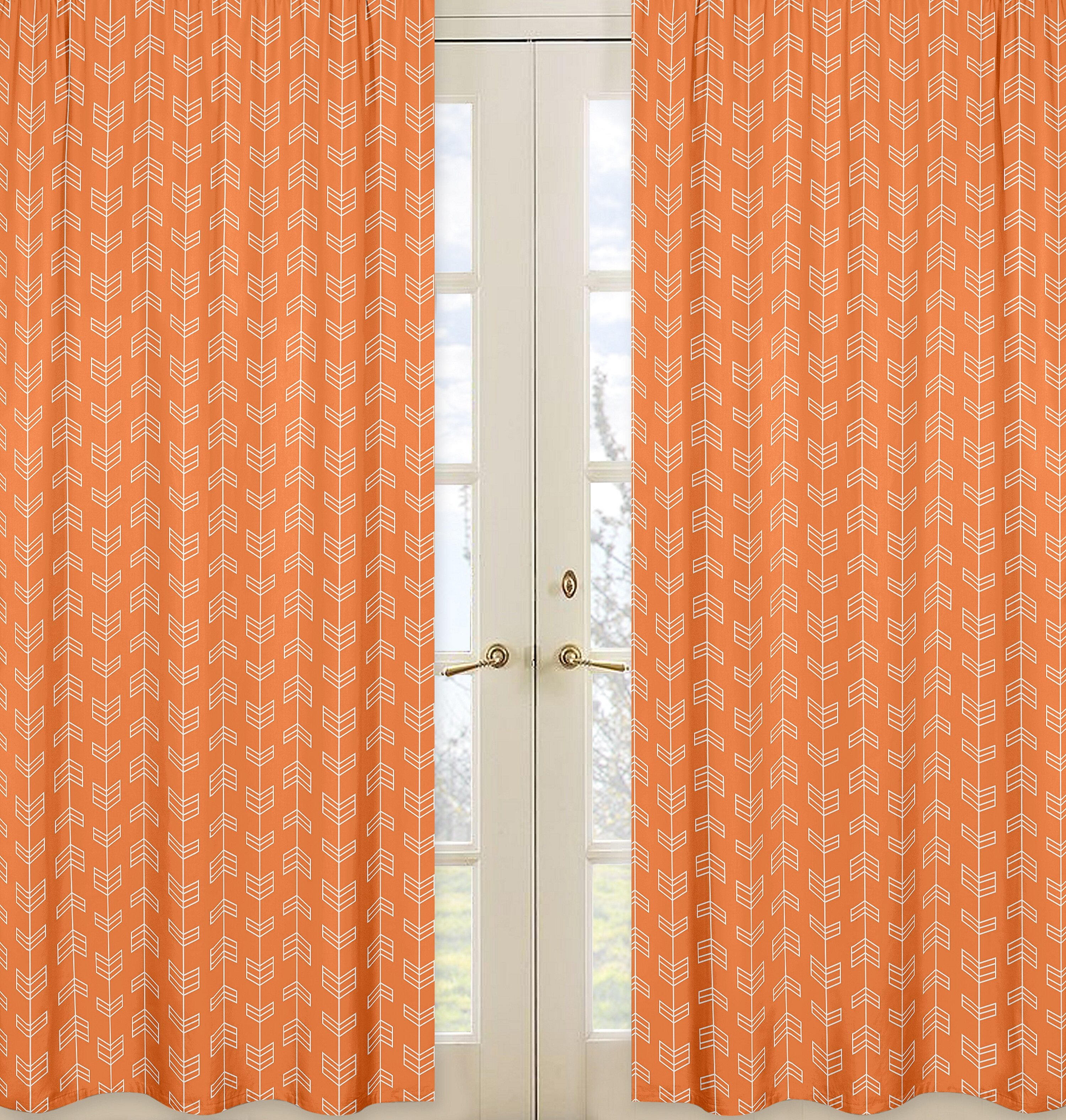 pair grommet home orange sateen with ironwork garden top curtain curtains panel blackout panels woven ati product
