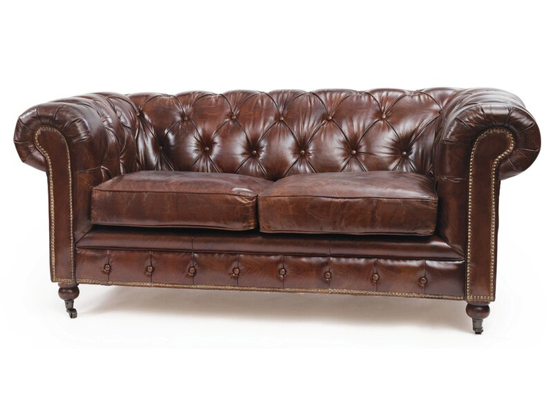 17 Stories Jean Leather Chesterfield Sofa Wayfair
