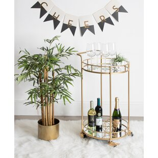 Askerby 2 Shelf Round Rolling Bar Cart