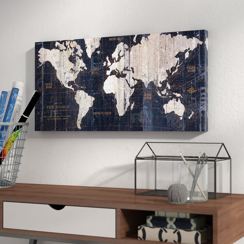 Mercury row old world map blue graphic art on wrapped canvas old world map blue graphic art on wrapped canvas gumiabroncs Images