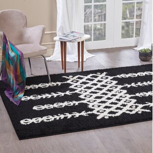 Aidric Shaggy Contemporary Black Rug by Norden Home