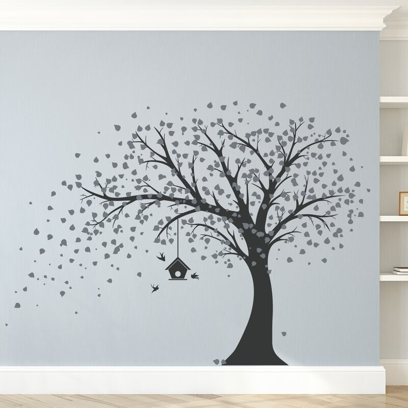 Ordinaire Large Windy Tree With Birdhouse Wall Decal