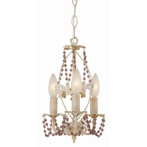 Crystal Flair 3-Light Semi Flush Mount