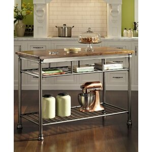 Kibbe Kitchen Island With Butcher Block Top