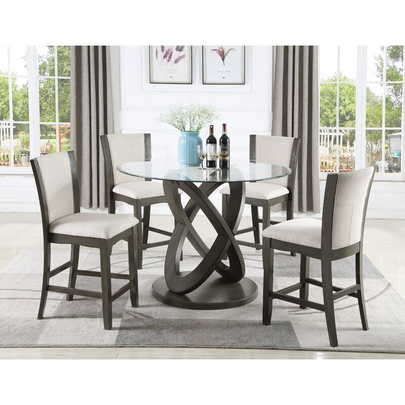 Orren Ellis Cicicol 5 Piece Glass Top Counter Height Dining Table
