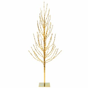 2 gold pine artificial christmas tree with 120 led clearwhite lights with stand
