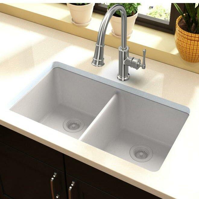 "Kitchen Sink 19 X 33: Elkay Quartz Classic 33"" X 19"" Double Basin Undermount"