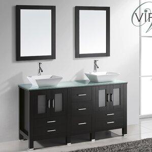 Bathroom Vanities Wayfair virtu glass top bathroom vanity | wayfair