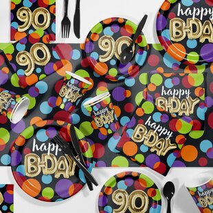 Balloon 90th Birthday Party Paper Plastic Supplies Kit Set Of 81
