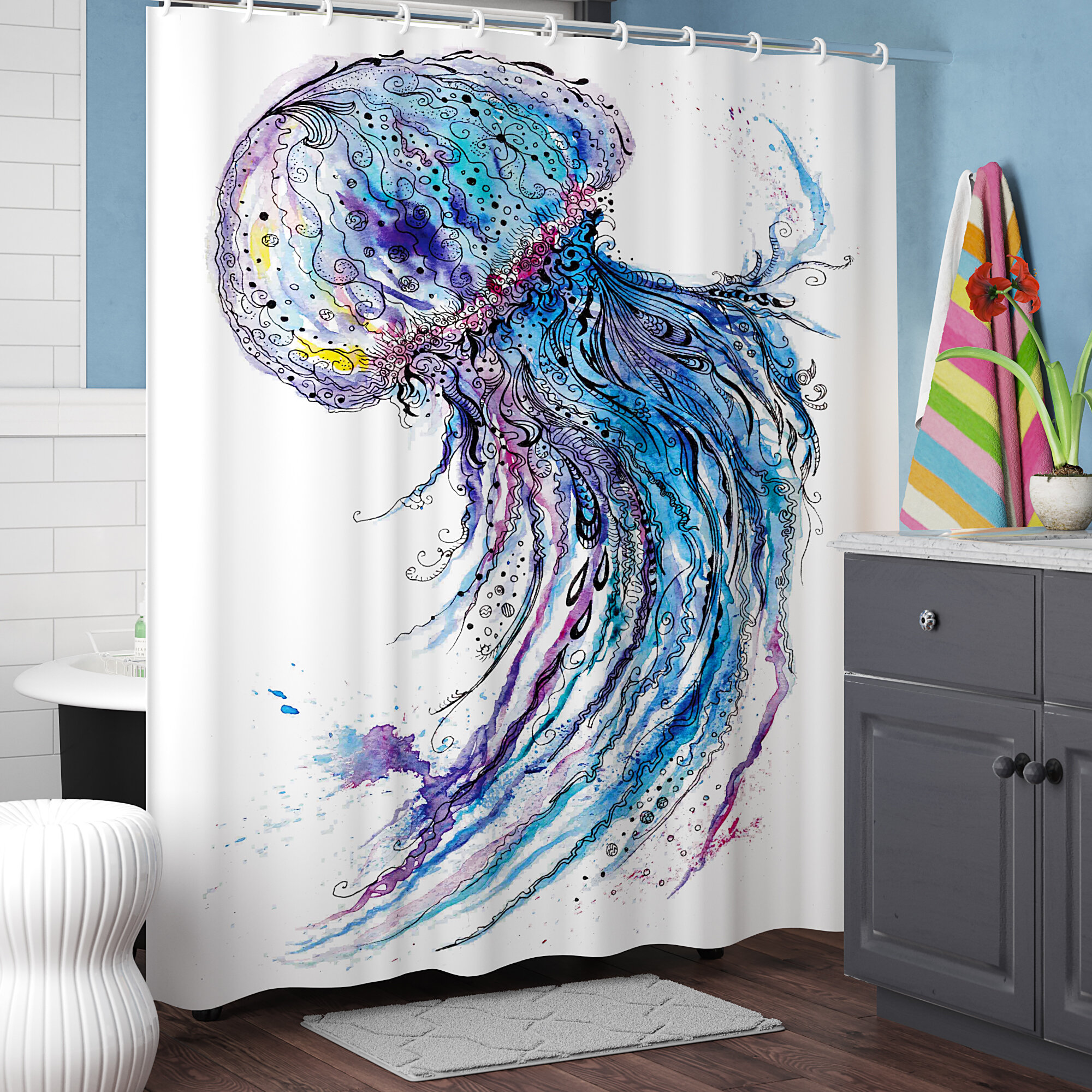Ebern Designs Calantha Aqua Colors Creative Single Shower Curtain