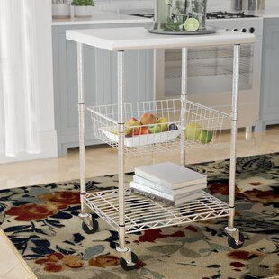 Earleville Kitchen Cart with Stainless Steel Top