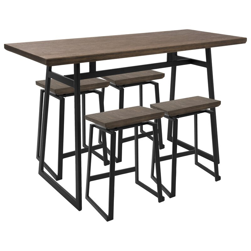 Delightful Rigg Industrial 5 Piece Counter Height Dining Set