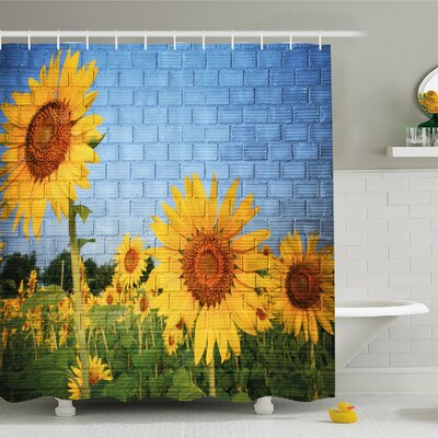 Rustic Home Sunflowers On Wall Peaceful Habitat Meadow Valley In Rural Village Shower Curtain Set