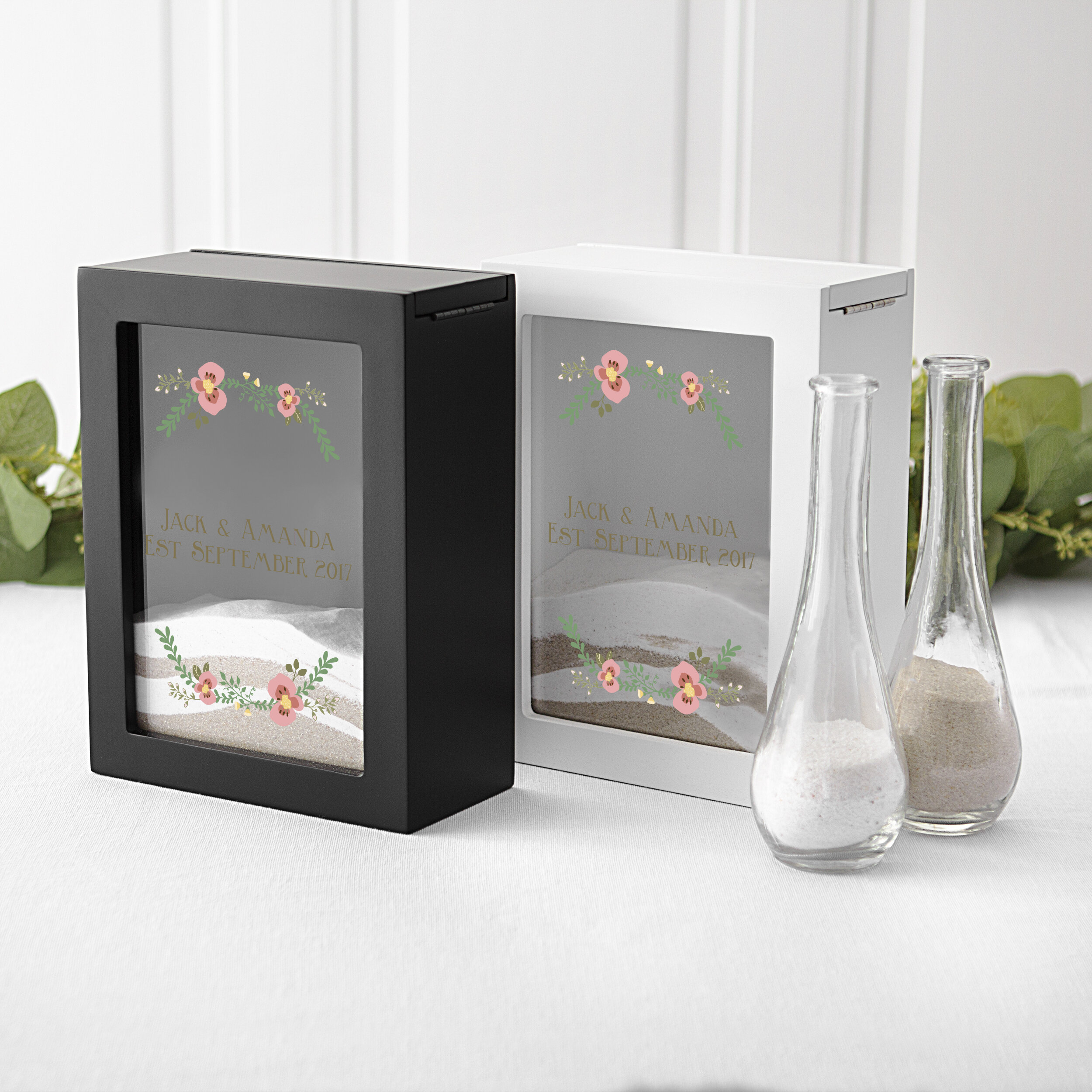 Cathys Concepts Personalized Floral Unity Sand Ceremony Shadow Sand Box