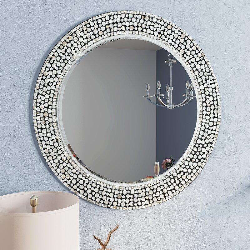 Wall Mirror Round latitude run round gray decorative wall mirror | wayfair