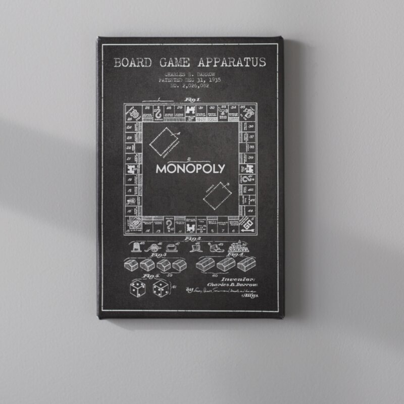 Williston forge monopoly charcoal patent blueprint graphic art on monopoly charcoal patent blueprint graphic art on wrapped canvas malvernweather Choice Image