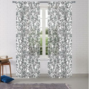 Odyssey Pole Top Floral Semi Sheer Curtain Panels Set Of 2