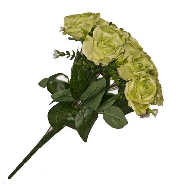 ALEKO Artificial Silk 10 Heads Lime Green Rose Flower Bouquet   Wayfair