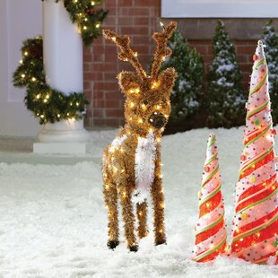 standing reindeer christmas decoration with 150 clear lights - Wayfair Outdoor Christmas Decorations