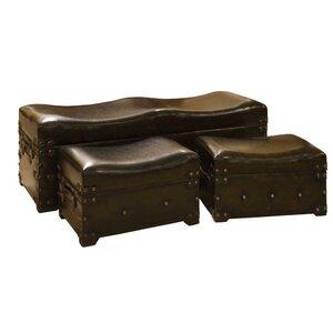 3-tlg. gepolstertes Schlafzimmerbank-Set mit Staufunktion von ChâteauChic