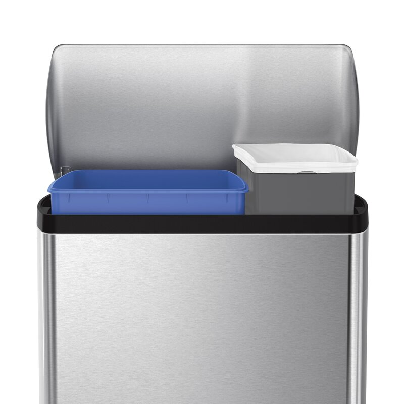 dual compartment trash can step trash 125 gallon rectangular step trash can dual compartment recycler brushed stainless steel simplehuman