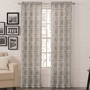 Livio Damask Semi Sheer Rod Pocket Curtain Panels Set Of 2
