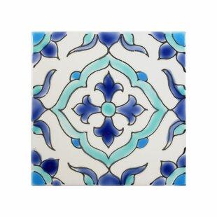 Mediterranean 4 X Ceramic Carthage Decorative Tile In Blue White
