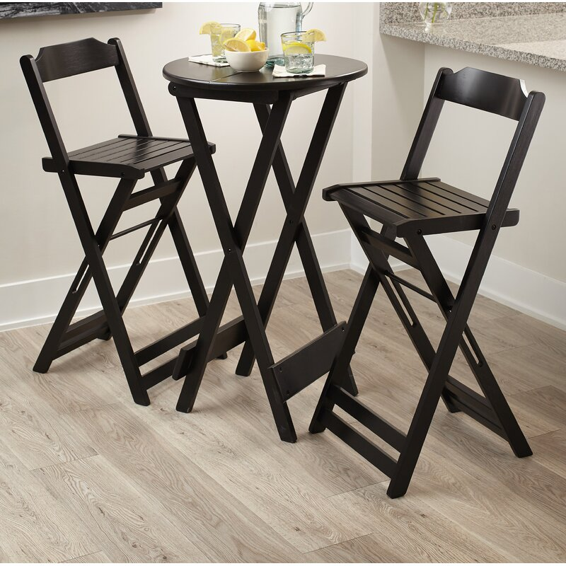 Chaplain Folding Bar Height 3 Piece Pub Table Set