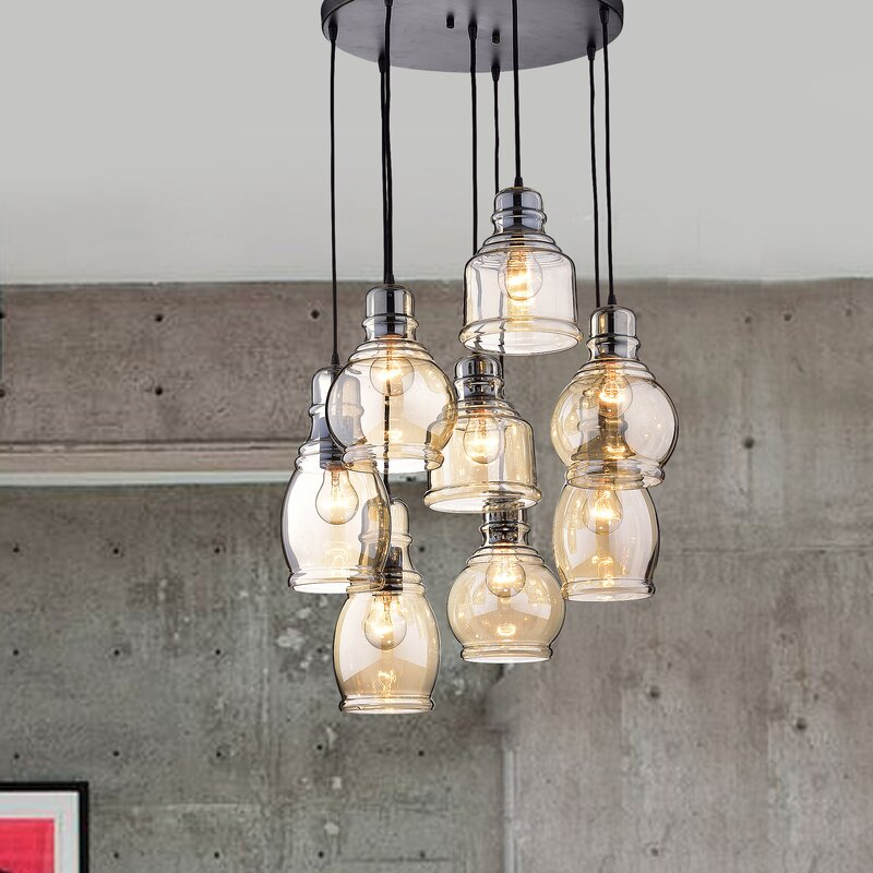 cluster pendant lighting. Pruett Cognac Glass Cluster 8-Light Cascade Pendant Lighting W