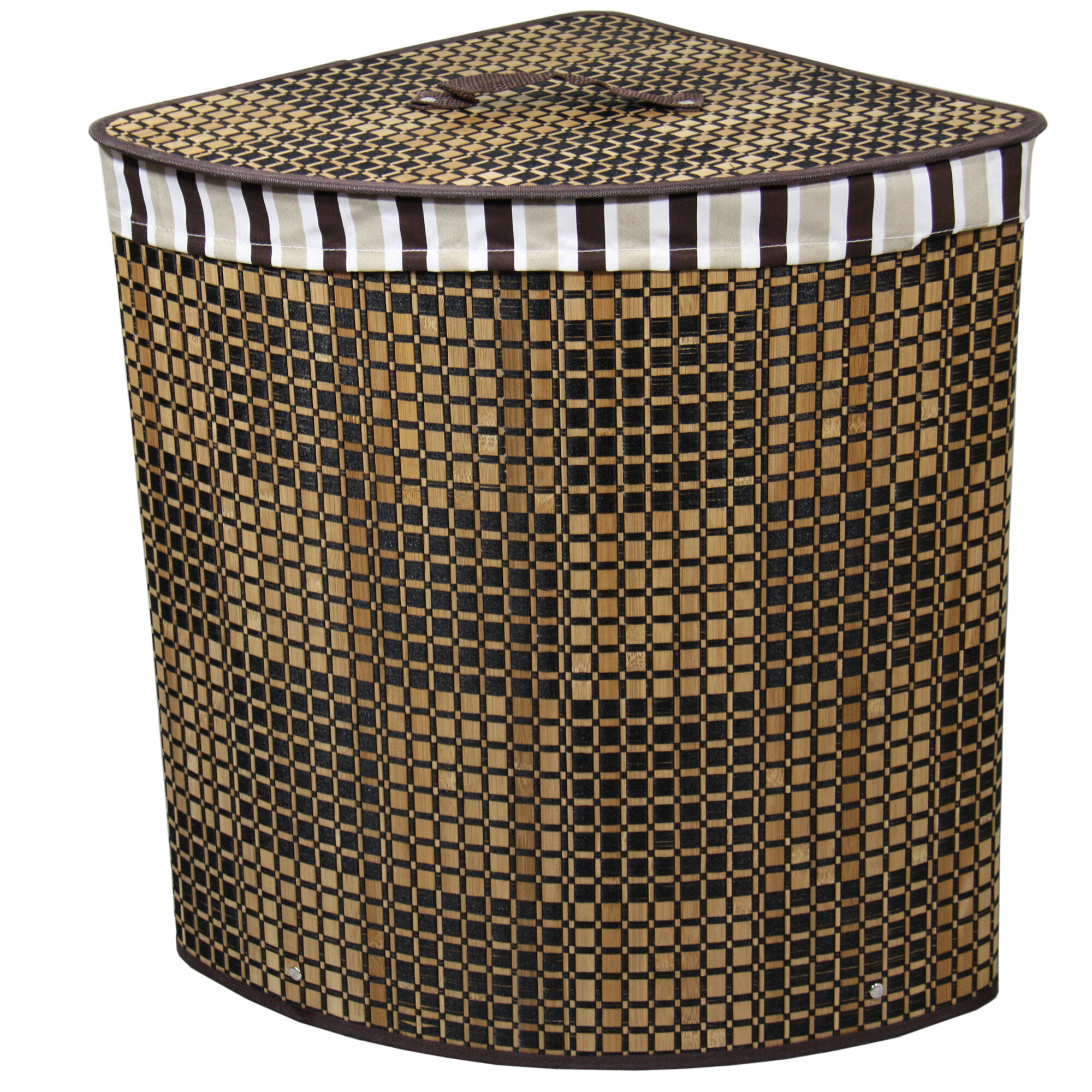 Ore furniture checker print bow front corner laundry hamper reviews wayfair