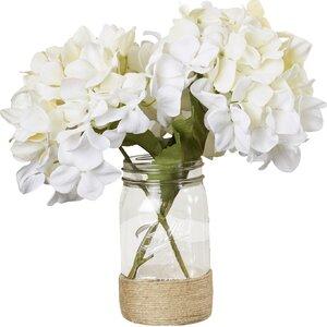 Sugarmill Silk Hydrangea Bouquet in Rope Embellished Mason Jar