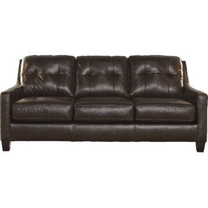 Red Barrel Studio Stouffer Genuine Leather Mahogany Sofa