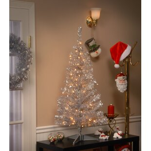 tinsel trees 4 silver artificial christmas tree with 70 clear lights and stand