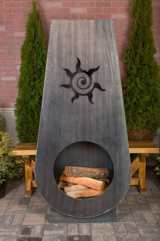 Suns Fire Steel Wood Burning Outdoor Fireplace