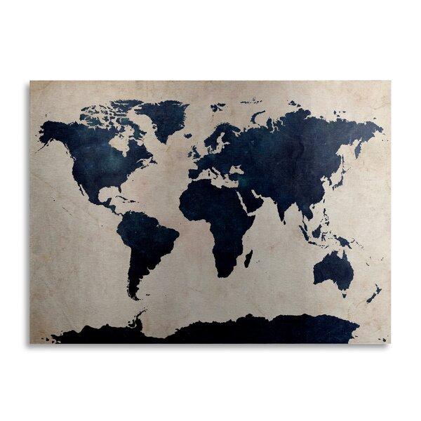 Trademark Art World Map Navy Graphic Art Print On Metal Wayfair Ca