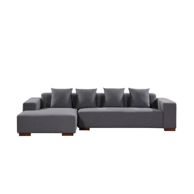 Brayden Studio Checketts Sectional Upholstery: Dark Gray, Orientation: Left Hand Facing