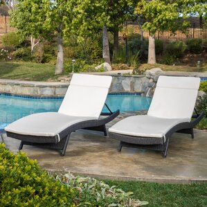 Peyton Adjustable Wicker Chaise Lounge With Cushion (Set Of 2)