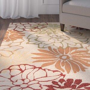 Aldford Beige/Orange Hand-Hooked Indoor/Outdoor Area Rug